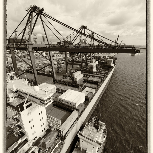 """Container port and ship"" stock image"