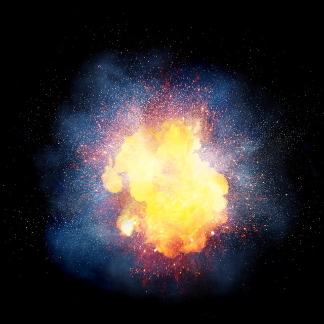 """Realistic bright fiery explosion, orange color with sparks and smoke isolated on black background"" stock image"