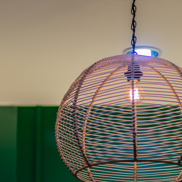 """""""Classic interior decoration style bamboo weave pattern lamp. Vintage lamp..."""" stock image"""