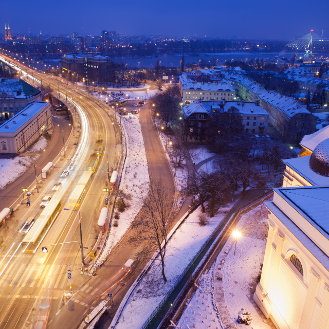 """""""Solidarity Avenue in Warsaw by Night"""" stock image"""