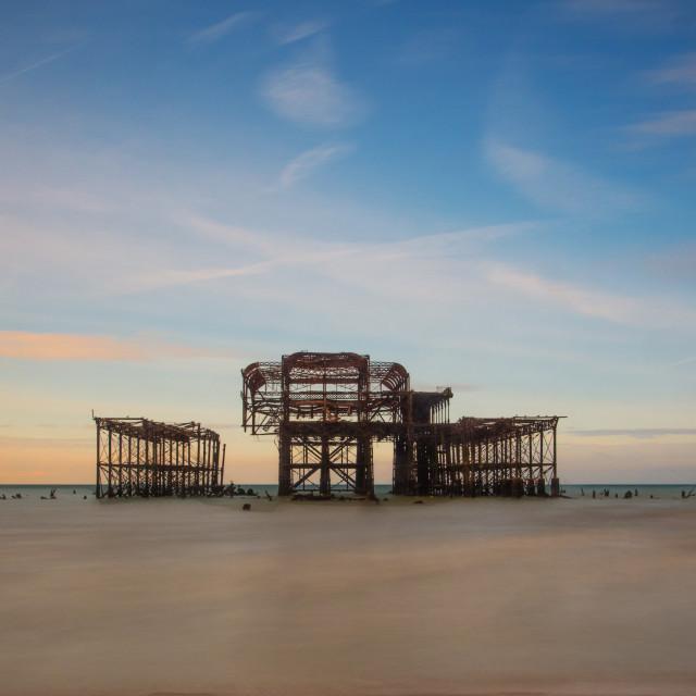 """Brighton Pier Remains"" stock image"