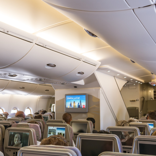 """""""The cabin of Airbus A 380, a double-deck, wide-body, four-engine"""" stock image"""