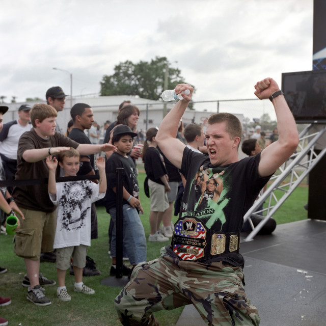 """Man shouting and flexing at Wrestlemania XXV in Orlando, Florida"" stock image"