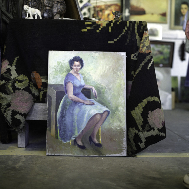 """""""antique painting of woman in a blue dress"""" stock image"""