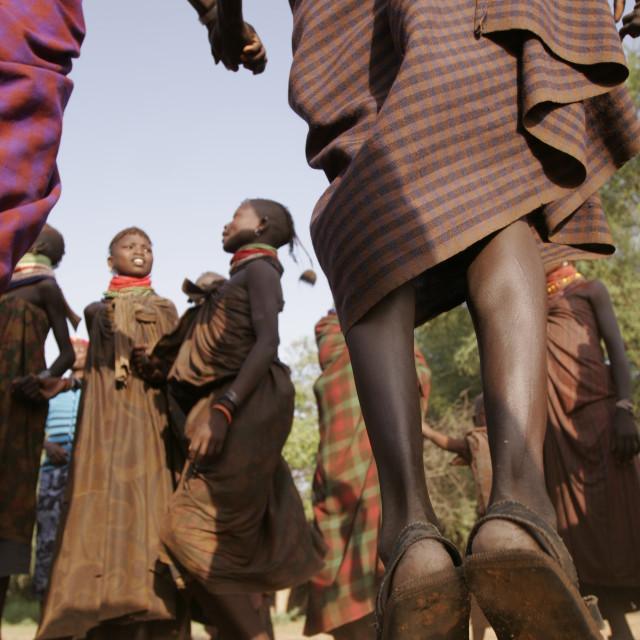 """""""Jumping and singing in Turkana, Kenya"""" stock image"""