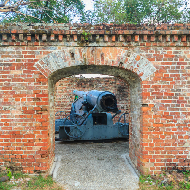 """Disappearing carriage gun at Phi Sua Samut Fort, the public place in..."" stock image"