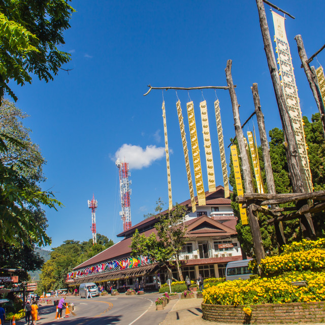 """""""Tourist visited The Doi Tung royal villa with beautiful traditional northern..."""" stock image"""