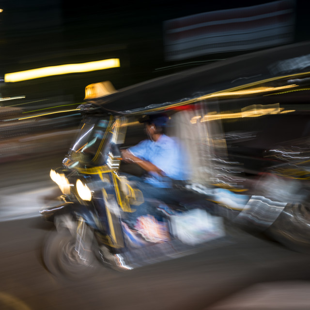 """Tuk-tuk at night"" stock image"