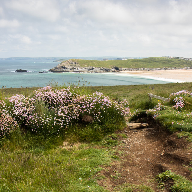 """View over Crantock Beech, Cornwall"" stock image"