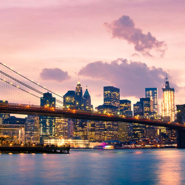 """Brooklyn Bridge and Lower Manhattan in New York City"" stock image"