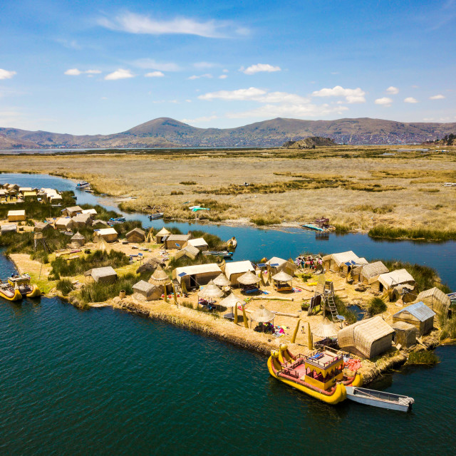 """""""Aerial view of floating islands at Lake Titicaca"""" stock image"""