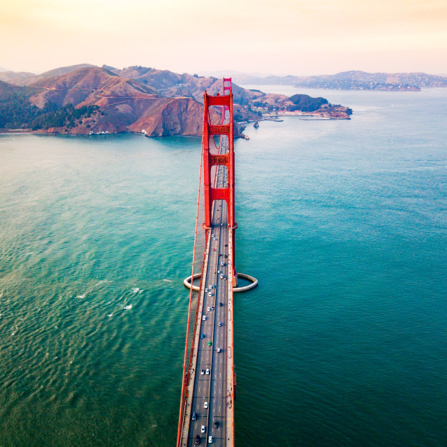 """Golden Gate bridge in San Francisco at sunset aerial"" stock image"