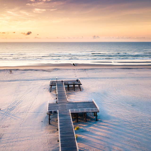 """""""Sunrise over the ocean aerial view"""" stock image"""