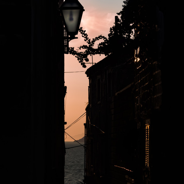 """""""Sunset alley"""" stock image"""