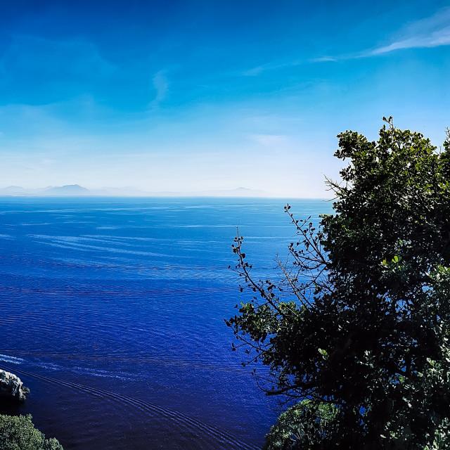 """Amalfi coast panorama with a bike"" stock image"