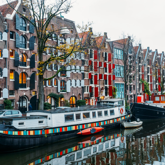 """Architecture Of Dutch Houses Facade and Houseboats On Amsterdam Canal"" stock image"