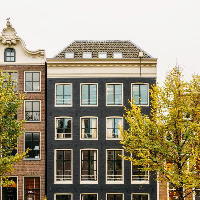 """Dutch Houses Facade In Downtown Amsterdam City"" stock image"