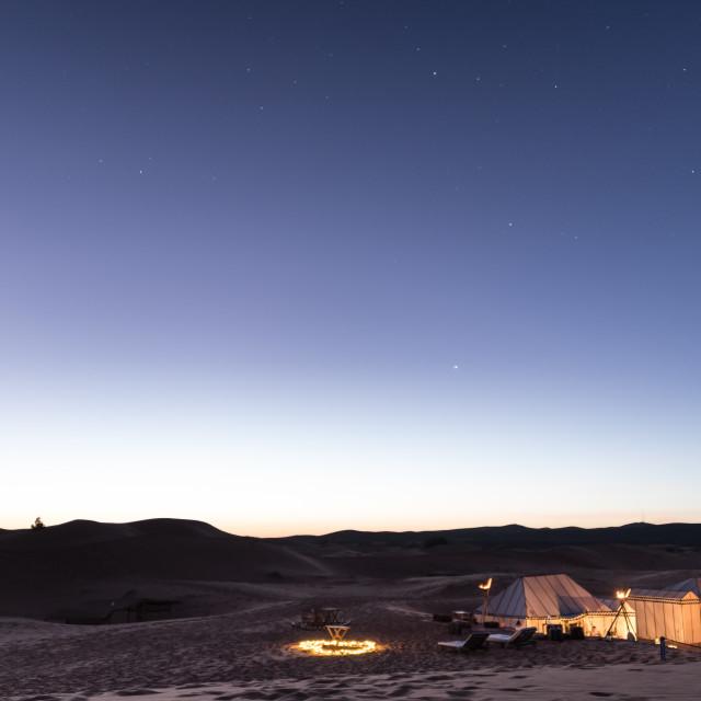 """""""Desert Camp at Dusk"""" stock image"""