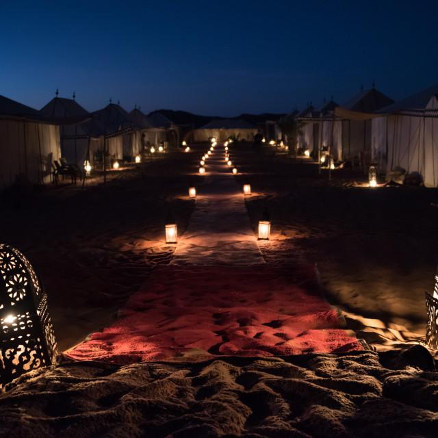 """Desert Camp at Night"" stock image"