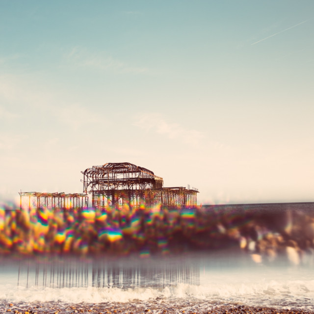 """""""Brighton West pier and prism reflections"""" stock image"""
