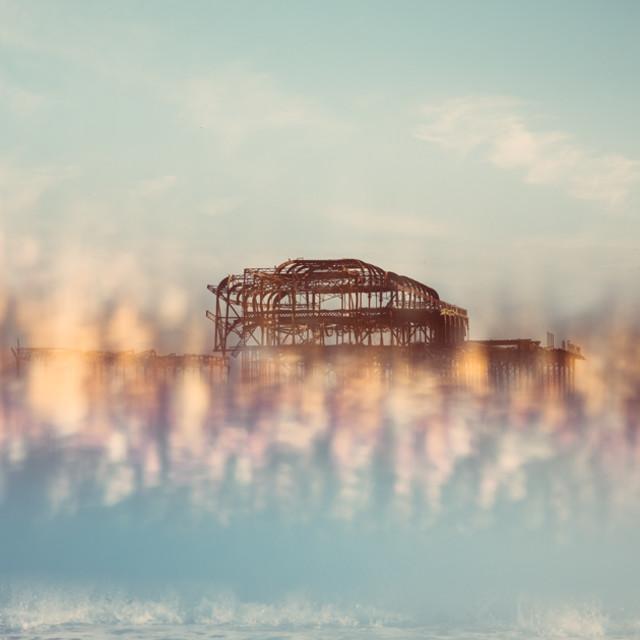 """Brighton West pier seen through a prism"" stock image"