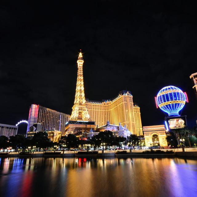 """Paris Resort Casino and hotels in Las Vegas."" stock image"