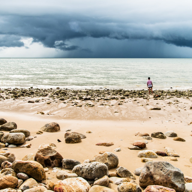 """Stormy day on the beach"" stock image"