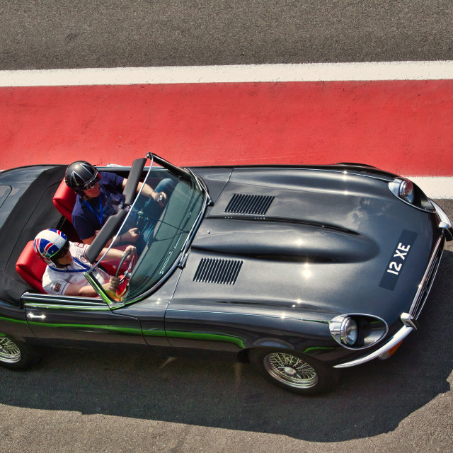 """Jaguar E-type at the Spa Classic"" stock image"