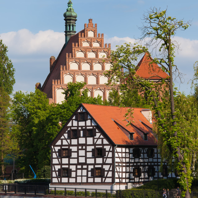 """""""White Granary and Cathedral in Bydgoszcz"""" stock image"""