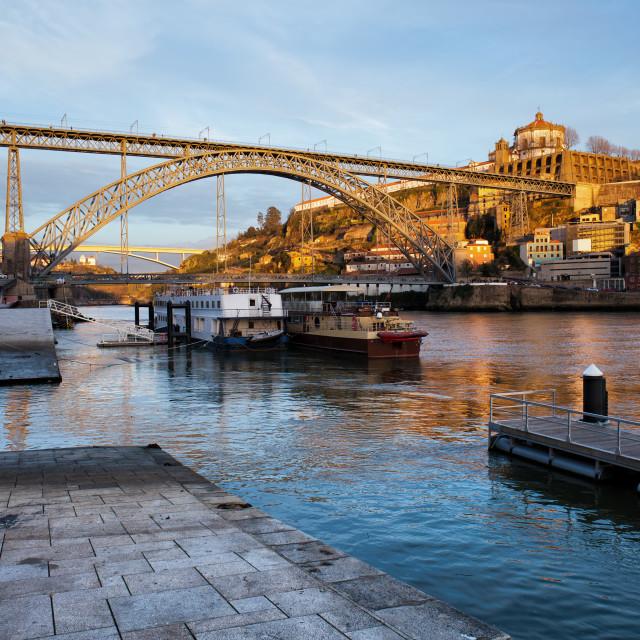 """Vila Nova de Gaia and Porto at Sunset"" stock image"