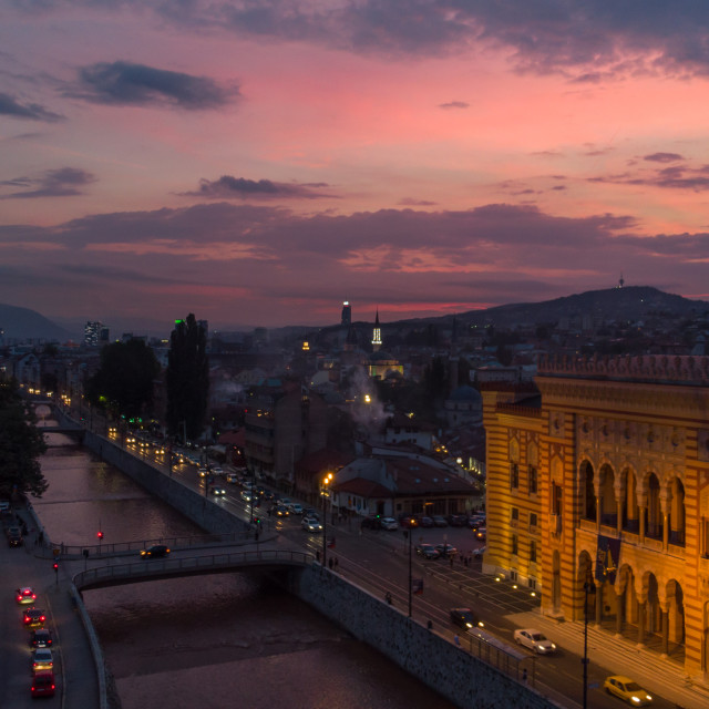 """Sarajevo town hall and dusk with colorful night"" stock image"