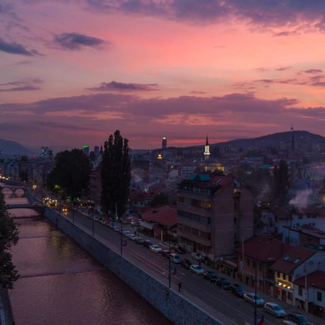 """""""Sarajevo in dusk"""" stock image"""