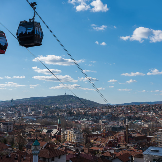 """panorama of Sarajevo and cable carts"" stock image"