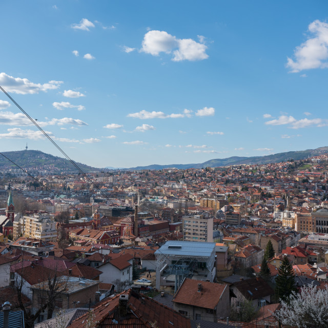 """Cable cart going down to Sarajevo"" stock image"