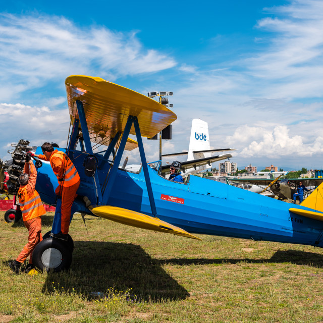 """""""Boeing Stearman Kaydet aircraft during Air Show"""" stock image"""