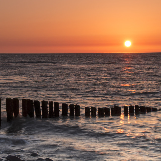 """Sunset Over Porlock Bay From Bossington Beach, Porlock, Somerset"" stock image"