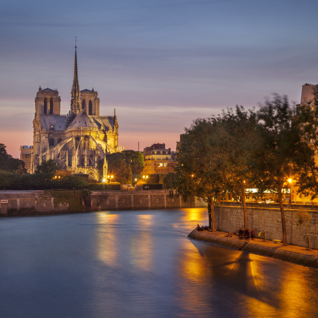 """Cathedral Notre Dame along River Seine, Paris France"" stock image"