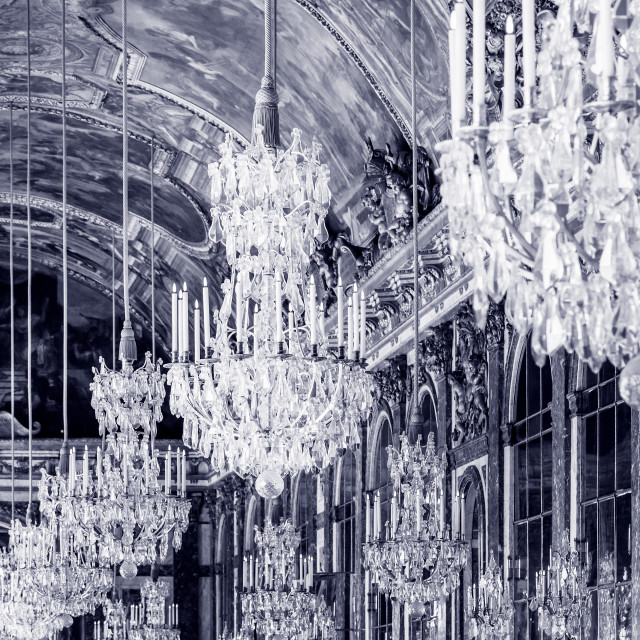 """""""Ceiling and chandeliers (Lustre) in the Hall of Mirrors, Chateau de..."""" stock image"""