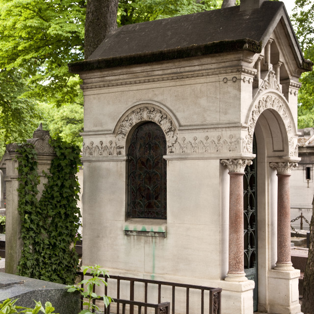 """Crypt at the famous Cimetière de Montmartre in Paris France"" stock image"