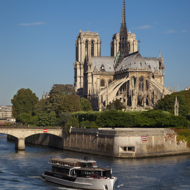 """Cathedral Notre Dame along the banks of the River Seine, Paris France"" stock image"