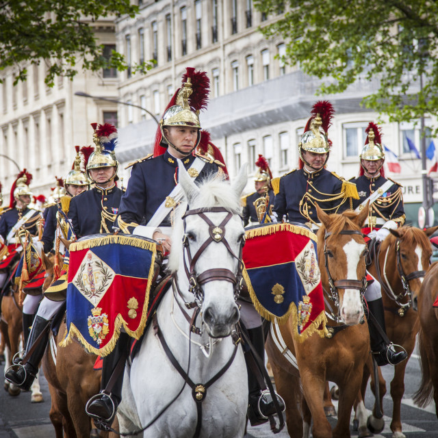 """Members of the Republican Guard Cavalry Regiment ride down Quai de Gesvres,..."" stock image"