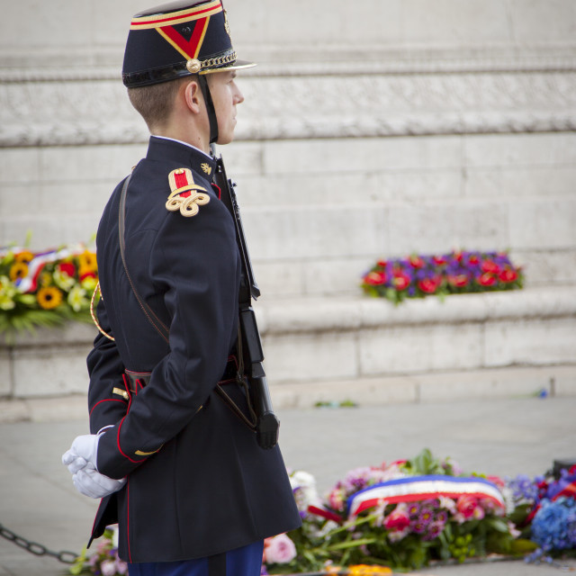 """""""Soldier stands guard over tomb of the unknown soldier below Arc de Triomphe,..."""" stock image"""