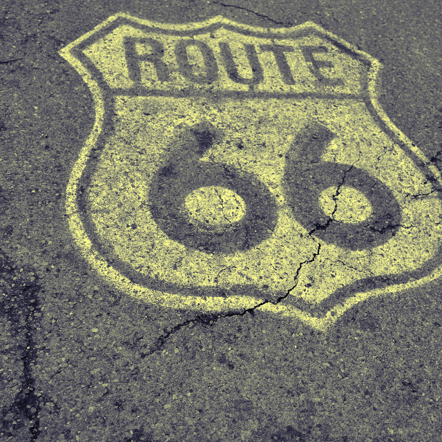 """""""Old Route 66 sign on the asphalt."""" stock image"""