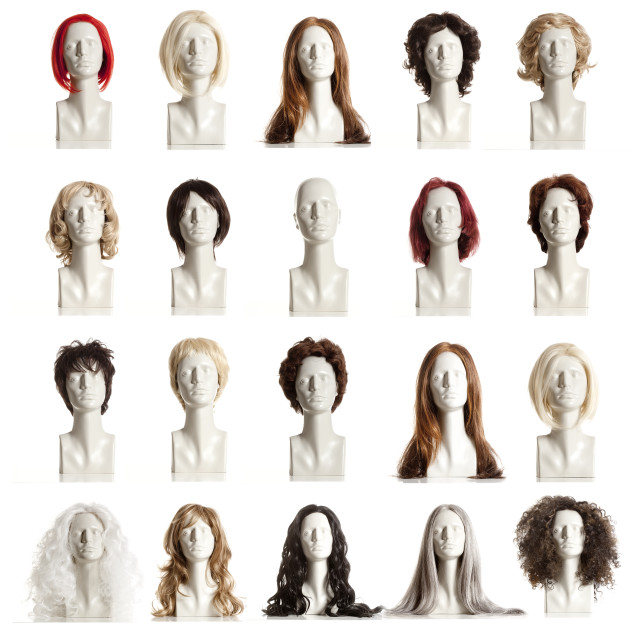 """Composite of Mannequin Heads with Wigs"" stock image"