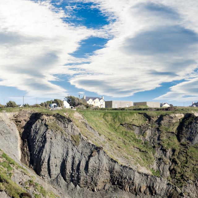 """doon houses on the cliff edge"" stock image"