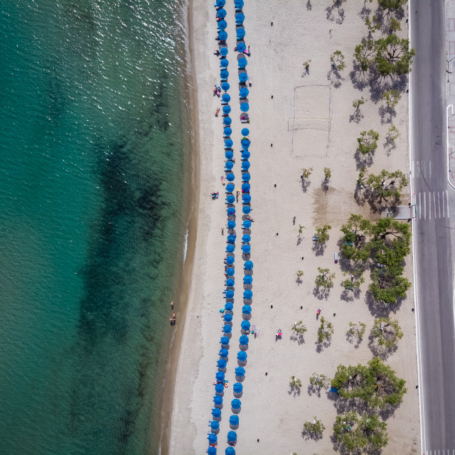 """""""Aerial view from Tigaki beach"""" stock image"""