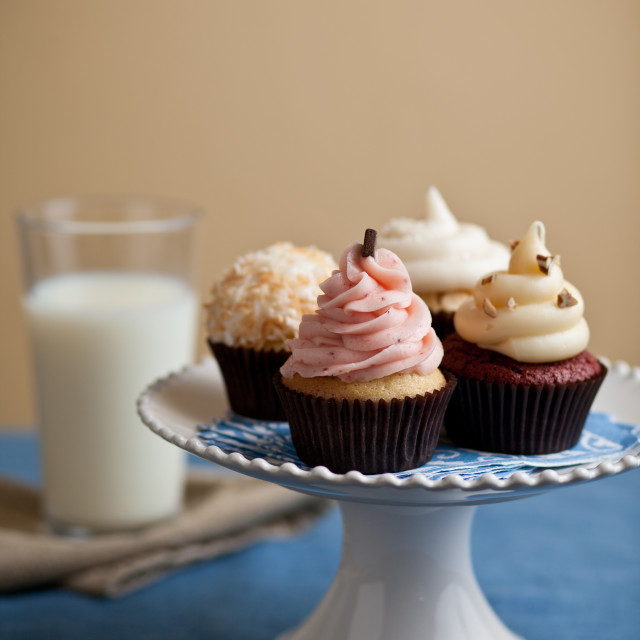 """Cupcakes on platter"" stock image"