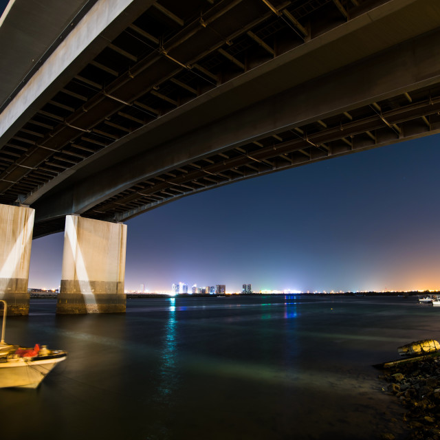 """NIght view of Ras al Khaimah city bellow bridge"" stock image"