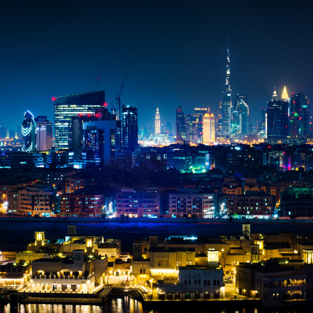 """Dubai skyline and modern cityscape view at night"" stock image"