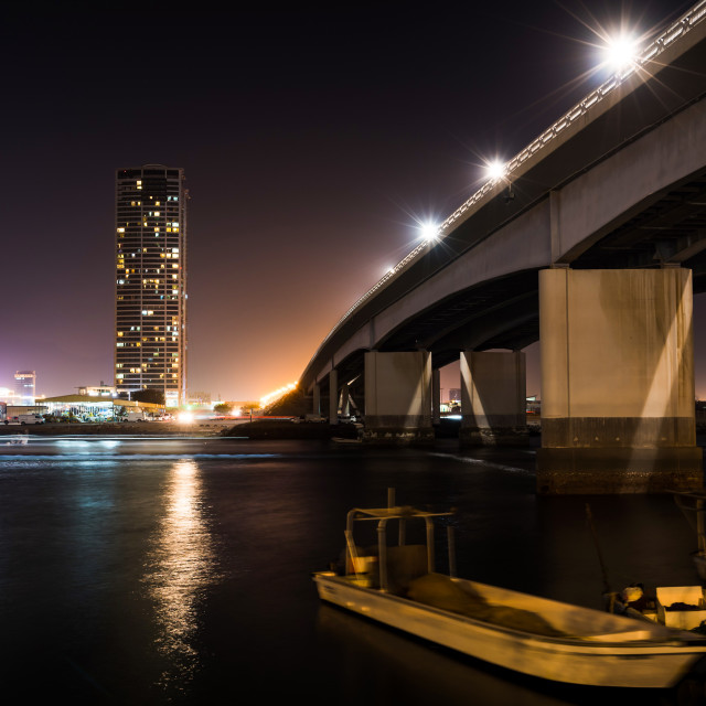 """Night view of Ras al Khaimah creek in UAE"" stock image"
